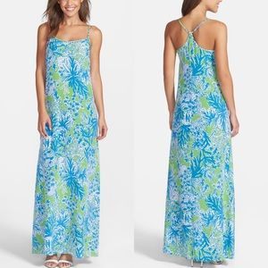 Lilly Pulitzer Jaylene silk green blue maxi dress